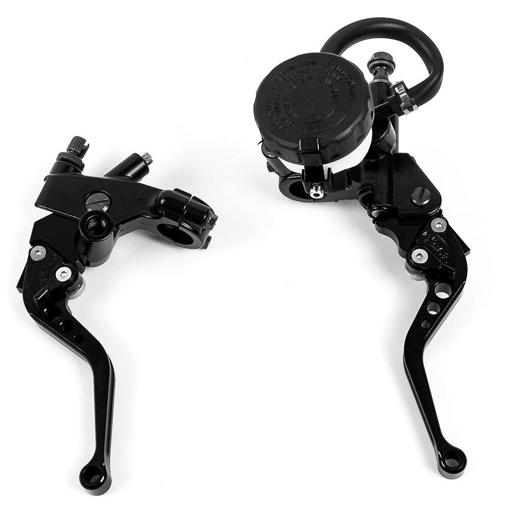 Juego de palancas universales de freno y de cilindro de embrague con depó sito para lí quido para frenos para motocicleta, de gran calidad (22 mm) Nawenson