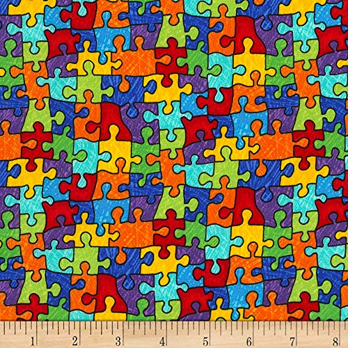 Timeless Treasures Crayon Party Puzzle Pieces Bright Fabric by The Yard