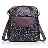 APHISON Women Backpack Purse Leather Embossing Ladies Rucksack Shoulder Bag 83559 (BLACK)