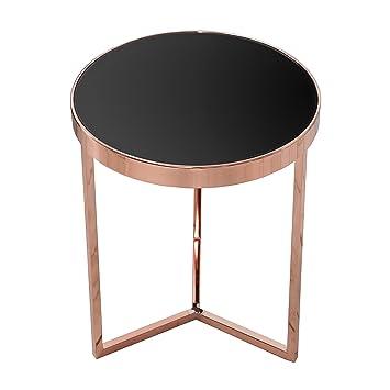Design Beistelltisch Original ART DECO 50 Cm Kupfer Schwarz Glastisch Tisch Mit Glasplatte