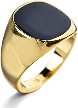 Star Jewelry Black Enamel Yellow Gold Filled Ring for Woman and Men Size 6-14