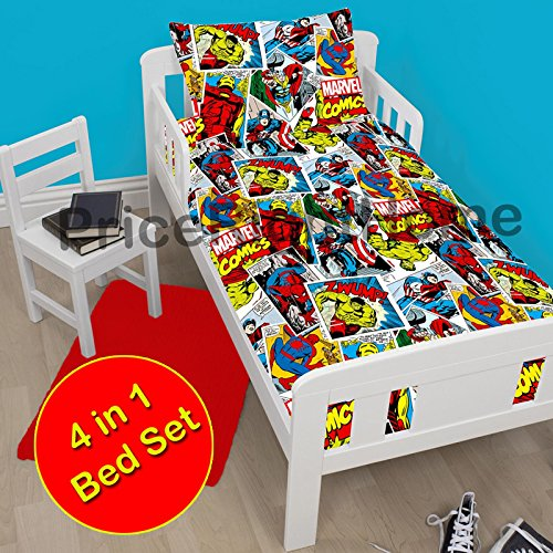 Marvel Comics Justice 4 in 1 Junior/Toddler Bedding Bundle Set (Duvet + Pillow + Covers) (Spider Man Toddler Bedding)