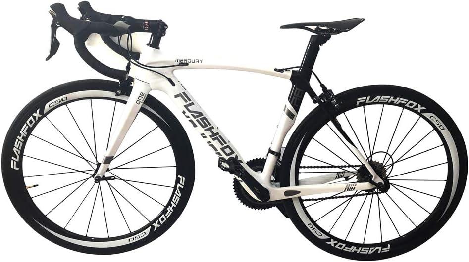 FLASH FOX自転車 完成車 ロードバイク フルカーボン FLASH FOX R8 ホワイト 組み立て自転車 艶有り 53cm