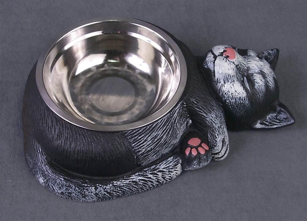 Cast Iron Sleeping Cat Food Bowl with Stainless Steel Dish