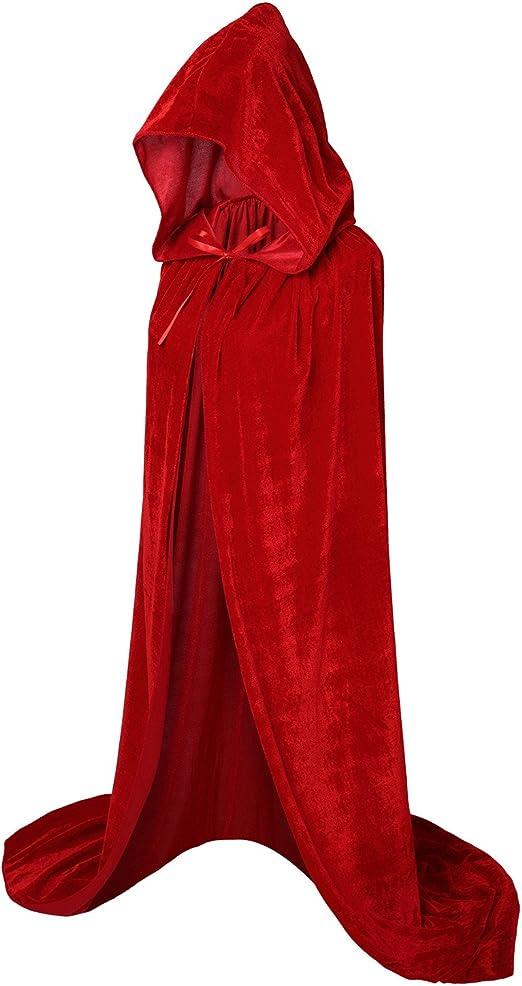 HBselect Mantello con Cappuccio Lungo in Velluto Costume di Halloween Traspirente Costume di Halloween Morbido Costume Unisex di Halloween per Carnevale e Natale