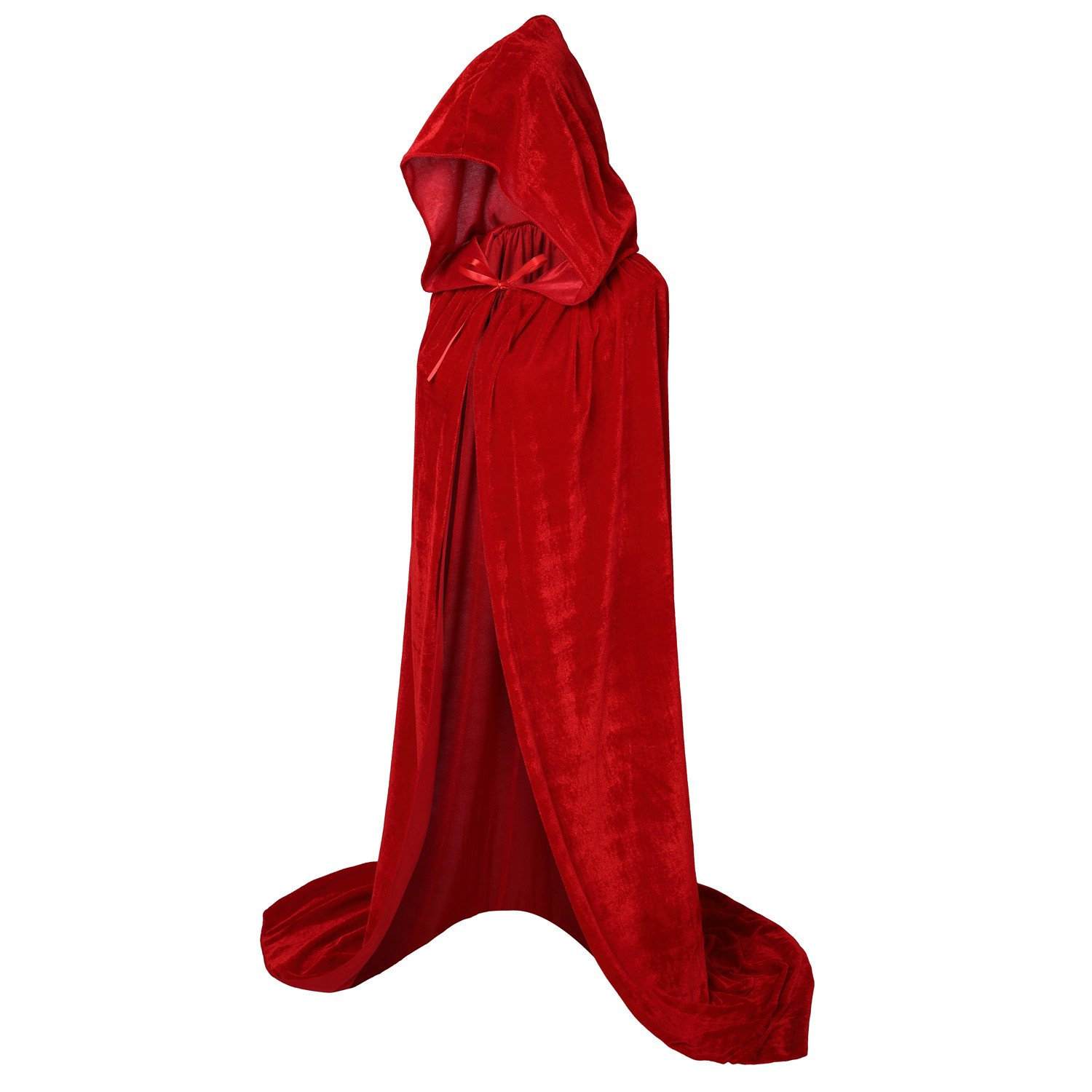 VGLOOK Hooded Cloak Long Velvet Cape for Christmas Halloween Cosplay Costumes 59inch