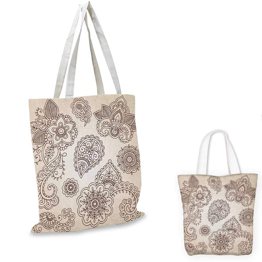 16x18-13 Henna canvas messenger bag Doodle Style Floral Pattern Vibrant Color Palette Asian Culture canvas beach bag Burnt Sienna Brown Almond Green
