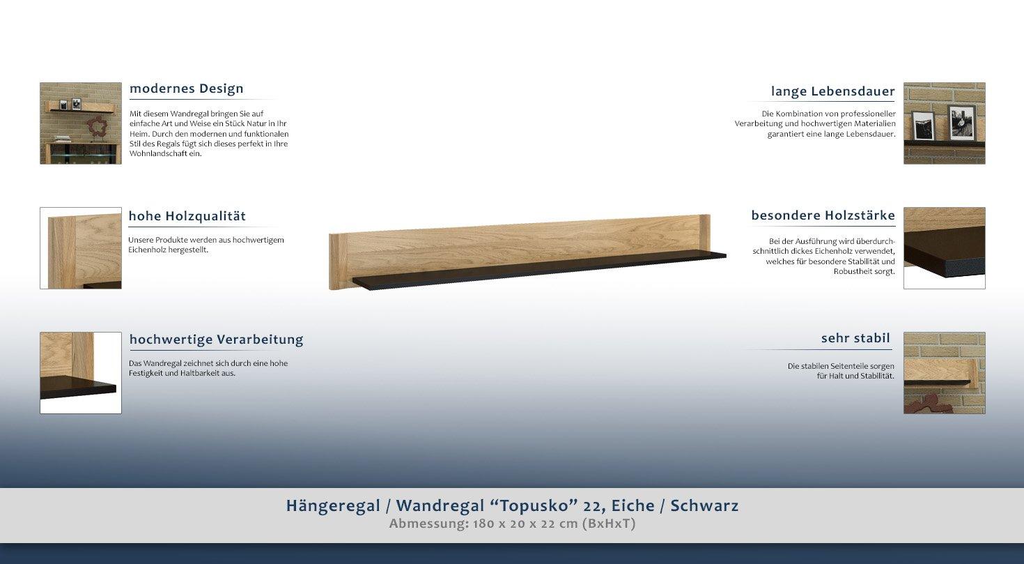 Hangeregal Wandregal Topusko 22 Farbe Eiche Schwarz