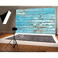 7x5 ft Blue Retro Wood Wall Photo Backgrounds Wooden for Chilfren Photography Backdrops Wrinkle free Seamless Cotton Cloth