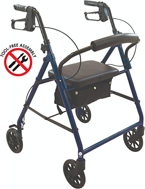 Deluxe Folding Rollator, Walker with Wheels, Premium Padded Seat, and Storage in Blue