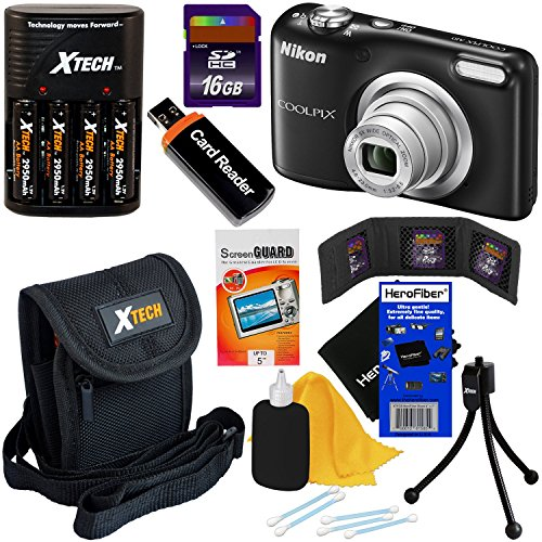 Nikon COOLPIX A10 16.1 MP Digital Camera with 5x Zoom & HD Video, Black - International Version (No Warranty) + 4 AA Batteries with Charger + 8pc 16GB Accessory Kit w/ HeroFiber® Gentle Cleaning Cloth