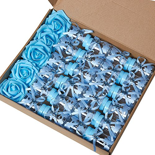 Marry Acting 2 Dozens 3.5 Inch Feeding Bottle Candy Box with 5 Pcs Artificial Flower Rose for Baby Shower Favor Gift Decoration (Blue) -