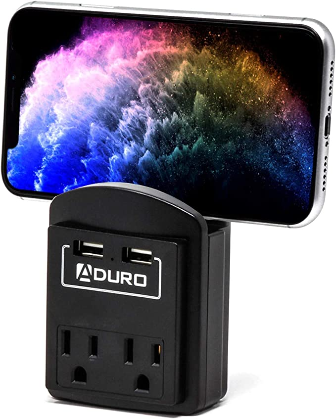 Aduro Surge Wall Charging Tower w// 9 Outlets /& Dual USB Ports Smart Power Strip