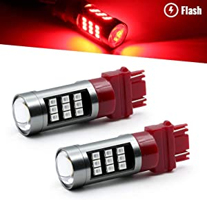 Syneticusa 3157 Red LED Stop Brake Flash Strobe Rear Alert Safety Warning 33-LED Light Bulbs
