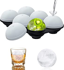 Scnkt Ice Cube Trays, Silicone Sphere Whiskey Ice Ball Maker with Separate Lids, 1.9inch Easy Release Ice Cube Mold for Cocktail and Scotch, Reusable, BPA-FREE and 2 Funnel Gift - Keep Drinks Chilled