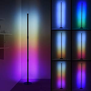 Ankishi LED RGB Corner Floor Lamp, Color Changing Floor Lamp, Nordic Corner Light with Linkable Rods, RGB Remote with 16 Million Colors Effects, Brightness & Speed Adjustable, 20W - Round Base