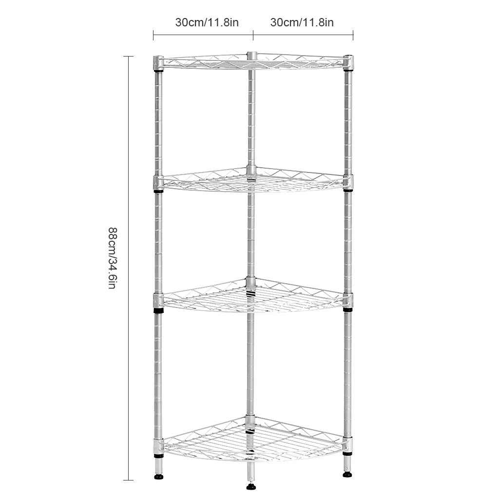 Langria 4 tire wire small corner shelf bathroom storage - Free standing corner bathroom shelves ...