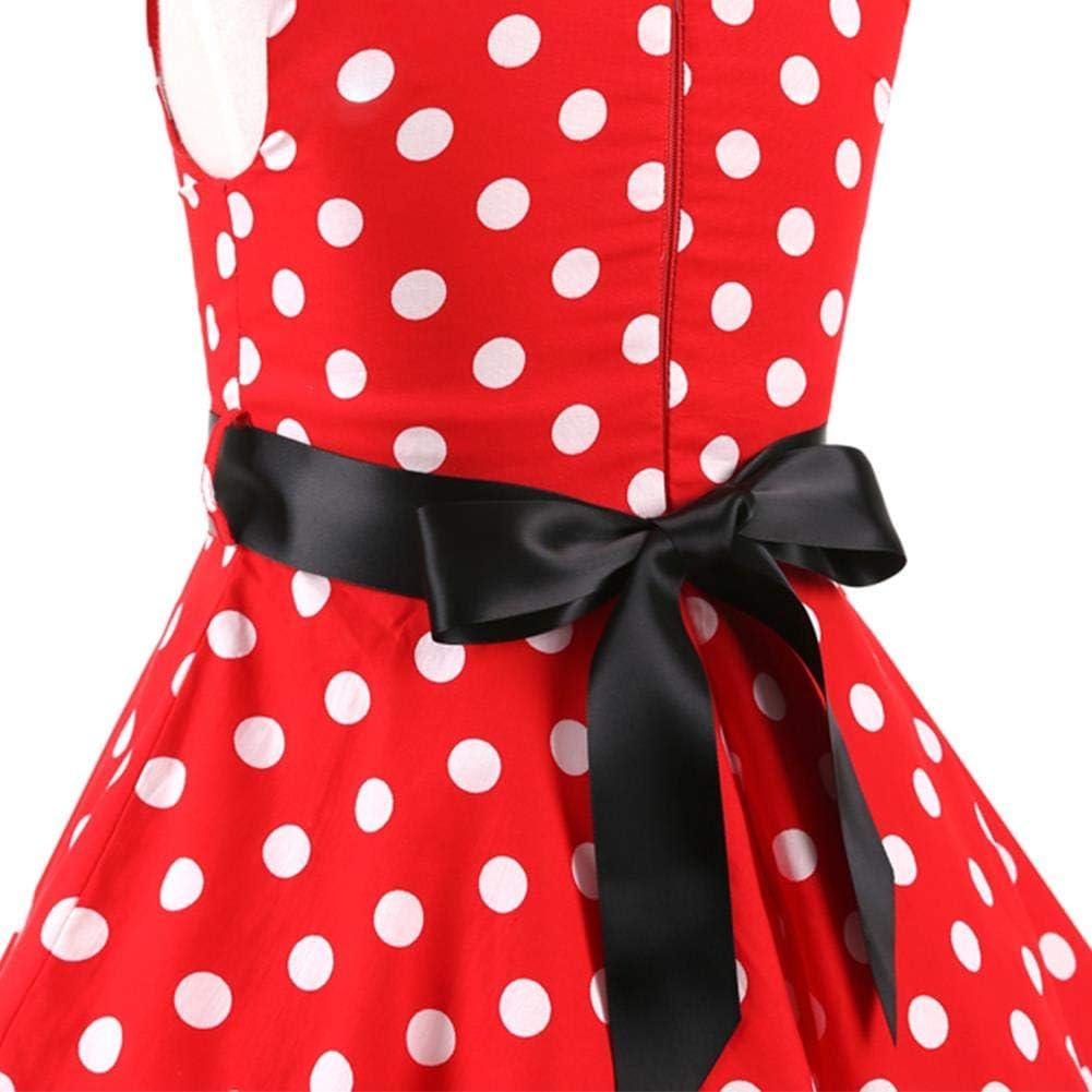 OBEEII M/ädchen Vintage 1950er Jahre Hepburn Stil Polka Dots Partykleider Kinder Retro Skater Rockabilly Swing Blumendruck Kleid f/ür Abend Cocktail Prom mit Waistbelt