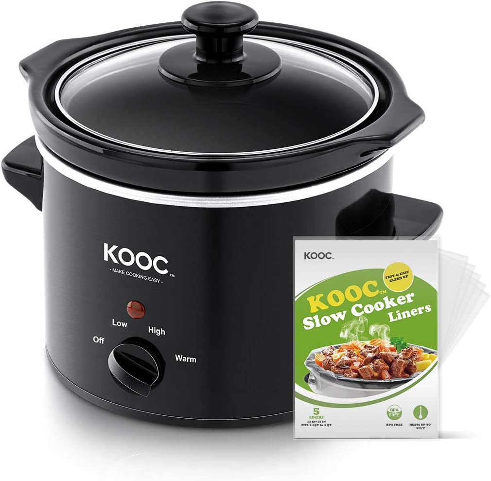 [NEW LAUNCH] KOOC Small Slow Cooker, 2-Quart, Free Liners Included for Easy Clean-up, Upgraded Crock Pot, Adjustable Temp, Nutrient Loss Reduction, Stainless Steel, Black, Round