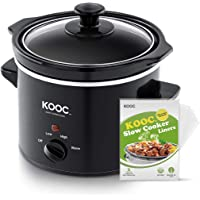 [NEW] KOOC Small Slow Cooker, 2-Quart, Free Liners Included for Easy Clean-up, Upgraded Crock Pot, Adjustable Temp…