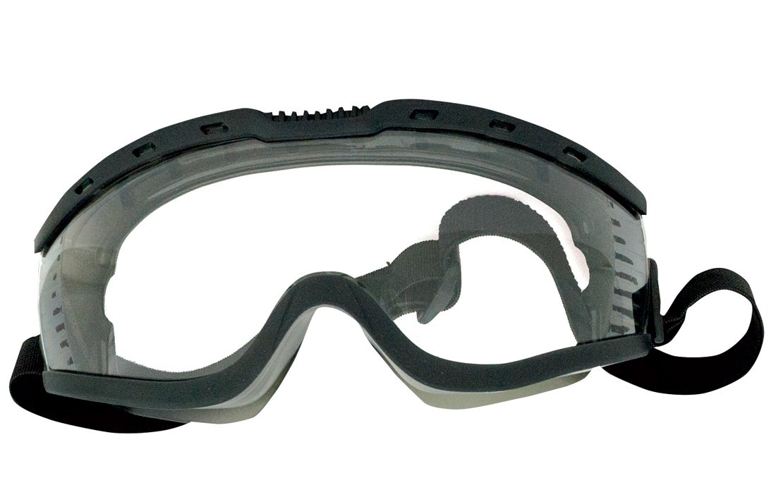 Ironwear Defogger-G2 3929 Series PVC Protective Safety Goggles with Adjustable Elastic Headband, Clear Lens, Indirect-Vented Black Frame (3929-B-C/A)