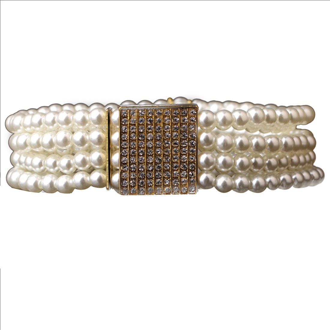 WomenS Small Gold Buckle Inlaying Rhinestone Pearl Elastic Belt Strap