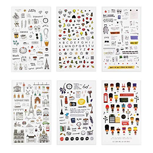 Sanmatic Sticker 6 Sheets Bullet Journal Sticker,Decorative Stickers Scrapbooking Stick Label Diary Planners Stationery Album Stickers