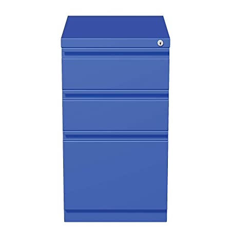 Hirsh 20 in Deep 3 Drawer Mobile File Cabinet in Blue