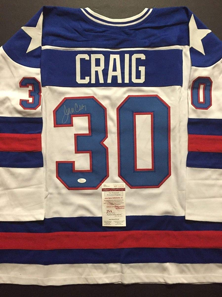 Autographed Signed Jim Craig White Team USA Miracle On Ice 1980 Olympics  Hockey Jersey JSA COA at Amazon s Sports Collectibles Store aa815b431