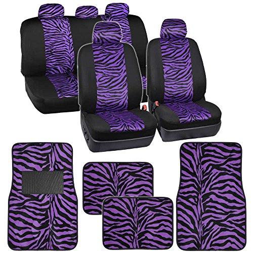 Two Tone Purple Zebra Seat Covers Floor Mats for Car Truck SUV Auto Accessories