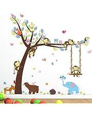 Cartoon Monkey Tree Jungle Animals Theme Wall Art Decal Sticker Mural Decoration for Living Room Nursery Baby Girl Boy Kid Children's Room Bedroom Decor
