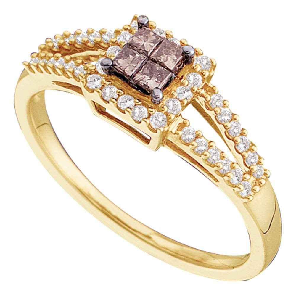 Halo Princess Brown Diamond Ring Solid 14k Yellow Gold Fashion Band Split Style Chocolate Cluster 1/3 ctw