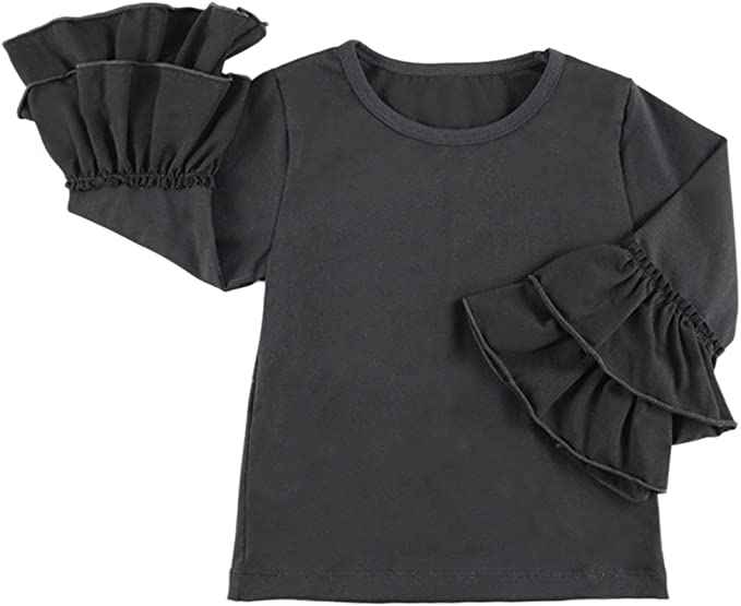 Toddler Baby Girl Long Sleeve Ruffles Flower Tops Solid T-Shirts Clothes Kid Tee