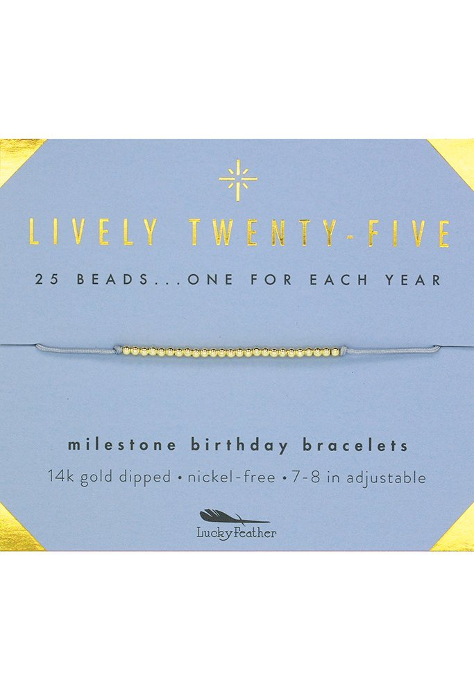 "Lucky Feather Happy 25th Birthday Gifts For Women - 14K Gold Dipped Beads Bracelet on Adjustable 7""- 8"" Cord - Turning 25 Birthday Gifts For Her"