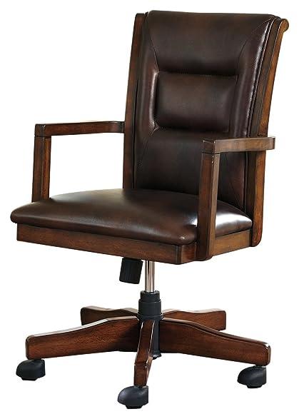 Ashley Furniture Signature Design   Devrik Swivel Home Office Desk Chair    Contemporary   Brown