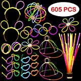 Glow In The Dark Party Supplies - 605 Pieces - Includes Connectors to Create Necklaces, Bracelets, Glasses, Heart Glasses, Hats, Headbands, Balls and Flowers - Glow in the Dark Party Favors - Dragon Too