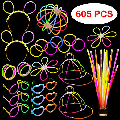 Glow In The Dark Party Supplies - 605 Pieces - Includes Connectors to Create Necklaces, Bracelets, Glasses, Heart Glasses, Hats, Headbands, Balls and Flowers - Glow in the Dark Party -