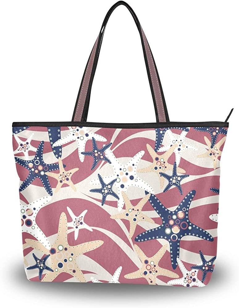 Starfish Tile Pattern Womens Canvas Washable Tote Bags ...