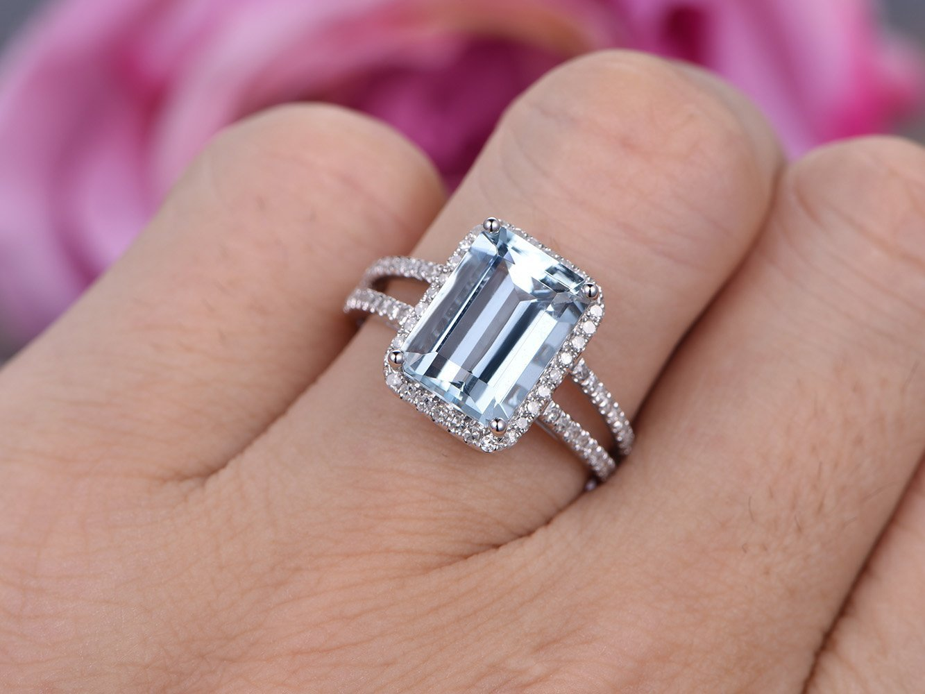 Amazon.com: Emerald Cut Aquamarine Engagement Ring Pave Diamond 14K ...