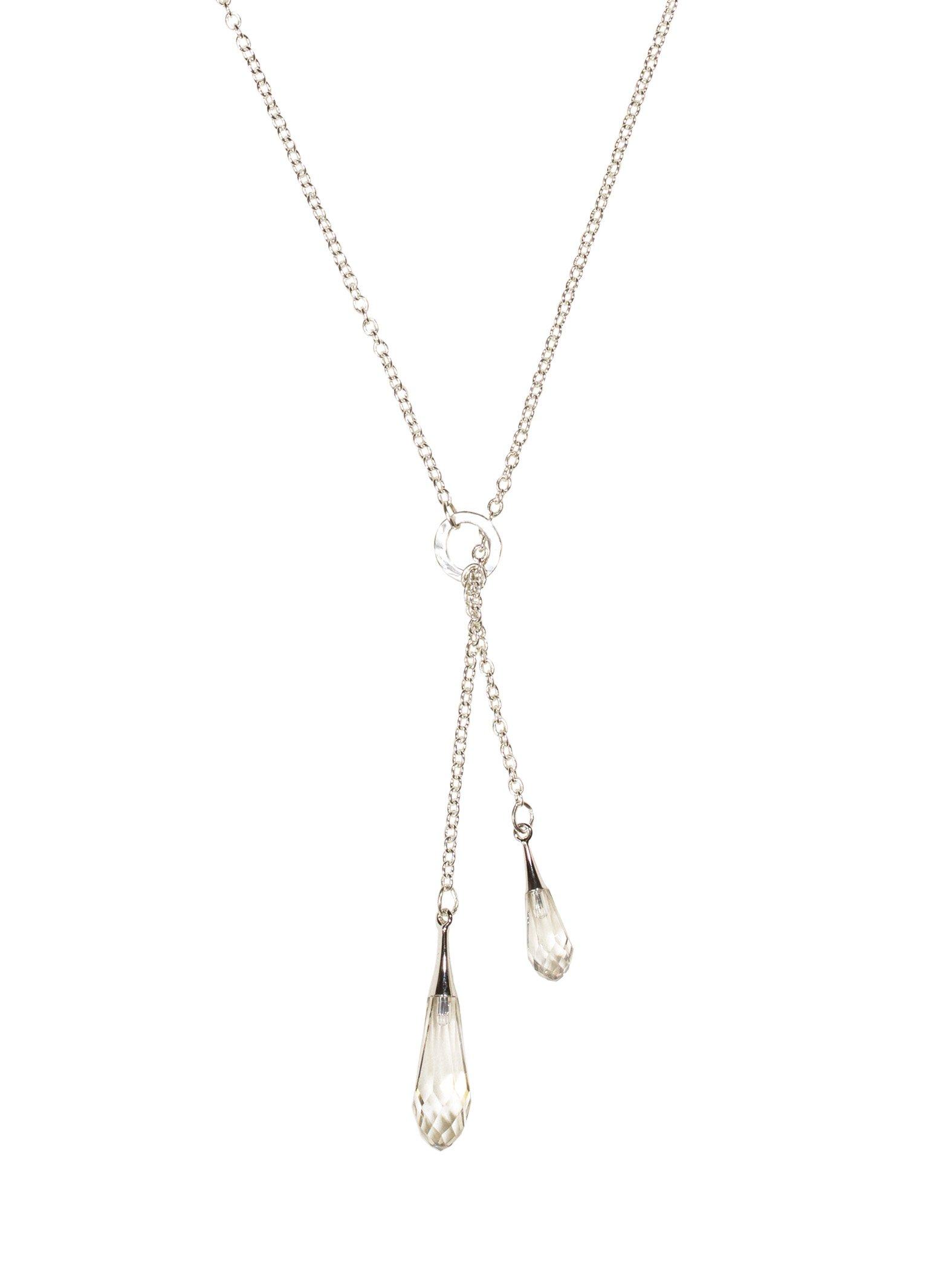 Holly Yashi Rain Drop Larait Necklace, Hypoallergenic Jewelry, Made in California (Grey/Silver)