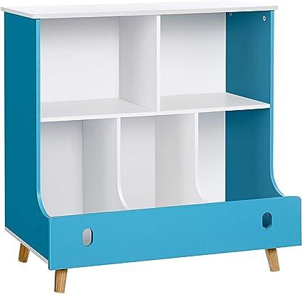 SONGMICS Estantería para Niños, Estantería de Juguetes, Librería Infantil, Estante Multifuncional para Juguetes y Libros, Azul y Blanco GKR43WB
