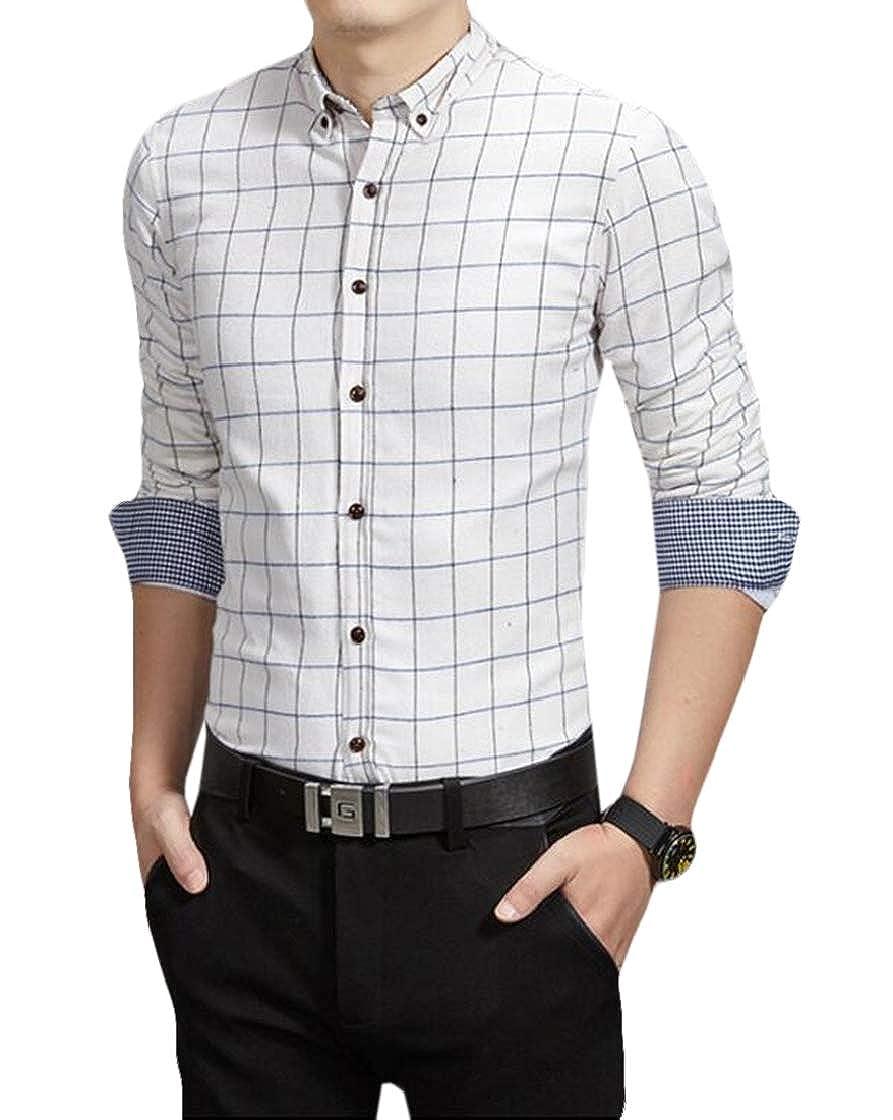 Jofemuho Men Fashion Formal Plaid Check Linen Fleece Buttons Dress Shirts
