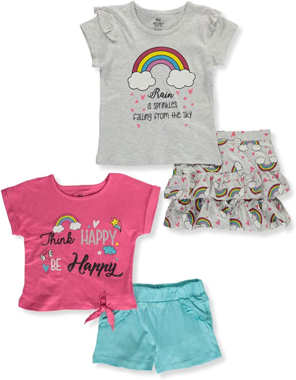 Pink Velvet Girls Think Happy Be Happy 4-Piece Mix-and-Match Set
