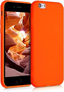 kwmobile TPU Silicone Case Compatible with Apple iPhone 6 / 6S - Soft Flexible Protective Phone Cover - Neon Orange