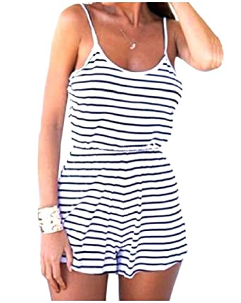 a2750b9606b9 Amazon.com  Vska Women s Summer Comfy Sling Striped Sexy Beach Holiday Silm  Fit Shorts Romper Playsuit  Clothing