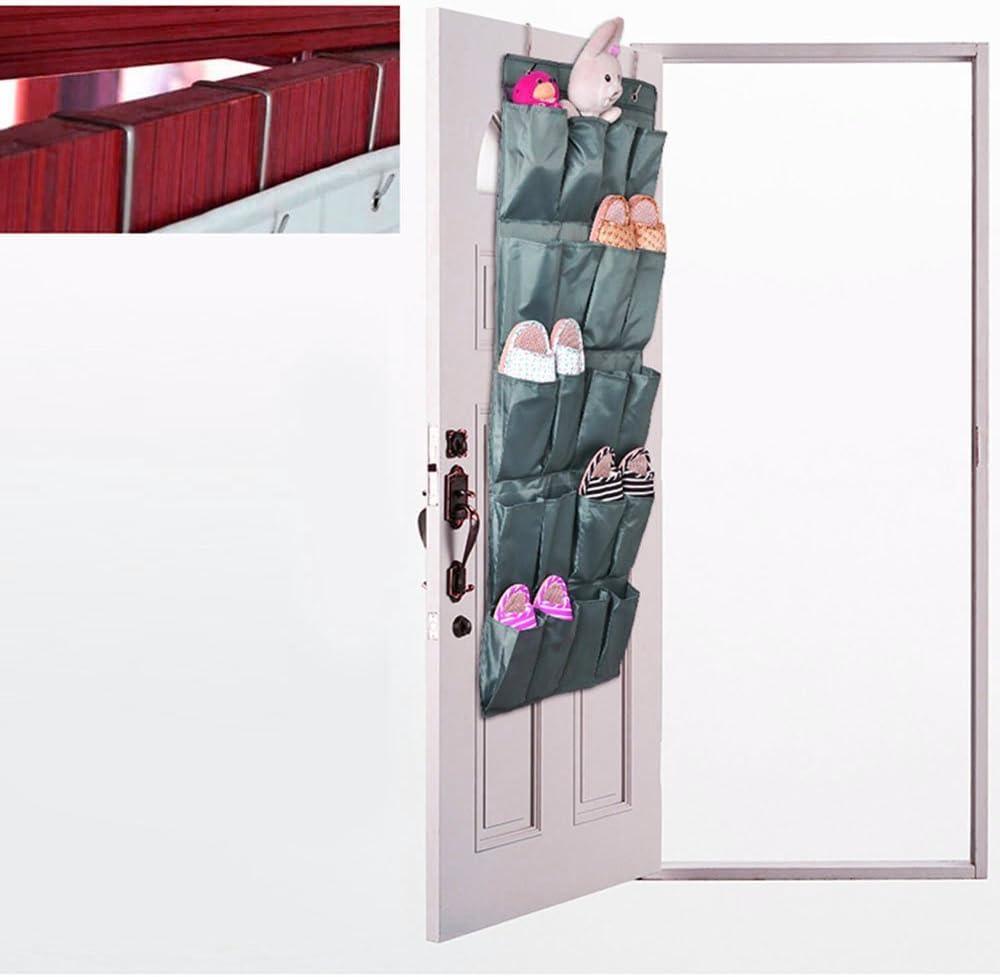 Zapato puerta armarios 24 bolsillo colgante organizador espacio de pared bolsa de almacenamiento del armario Gris claro (Gris oscuro): Amazon.es: Hogar