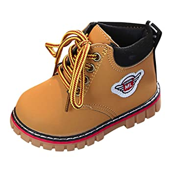 Toddler Baby Boys Martin Boots Baby Lace up Snow Leather Sneaker Soft Flat Ankle Snow Shoes