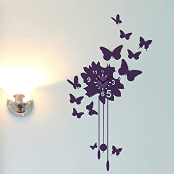 Buy Butterfly Clock Wall Decal W 14 H 24 Egg Plant Online