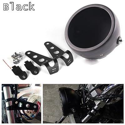 HOZAN Black 5.75inch Motorcycle LED Headlight Housing 5-3/4 LED Headlight Mount for Harley Honda Suzuki Kawasaki Vulcan Cruiser Bike Cafe racers: Automotive