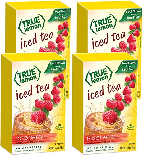 RASPBERRY ICED TEA MIX by TRUE LEMON | Instant Powdered Drink Packets That Quench YOUR Thirst, Kit Includes 4 Boxes, 24ct of Mouth Watering True Citrus RASPBERRY (ICED TEA) (Drink Mixes Instant Powder Packet)